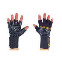 Перчатки тренажерные с фиксатором запястья Golds Gym из кожи (BC-3603, черные)